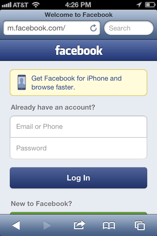 Facebook mobile sign in