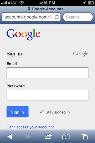 Google mobile sign-in page